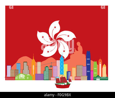 Hong Kong City Skyline and Big Buddha Statue Panorama in Hong Kong Flag Background Color Illustration - Stock Photo