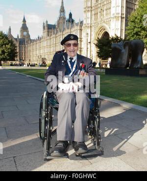London, UK. 15th Aug, 2015. Robert Gale Invasion Force, Far East WW2 Veteran, leaving VJ Day 70th Anniversary  reception.  Outside Parliament. Credit:  Prixpics/Alamy Live News Stock Photo