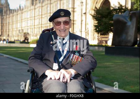 London, UK. 15th Aug, 2015. Robert Gale of Invasion Force Far East WW2 Veteran leaving VJ Day 70th Anniversary outside Parliament. Credit:  Prixpics/Alamy Live News Stock Photo