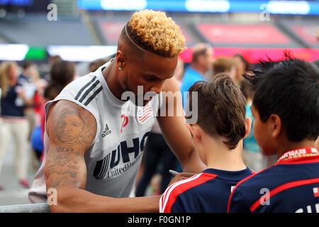 August 15, 2015; Foxborough, MA, USA; New England Revolution defender Darrius Barnes (25) signs autographs prior - Stock Photo