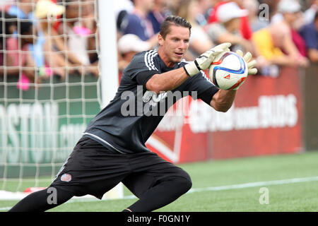August 15, 2015; Foxborough, MA, USA; New England Revolution goalkeeper Bobby Shuttleworth (22) warms-up prior to - Stock Photo