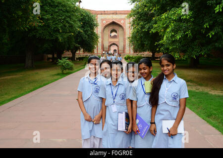 School Girls in Delhi India Students on Study Tour at Humayun Tomb Monument - Stock Photo
