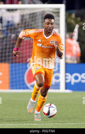 August 15, 2015; Foxborough, MA, USA; Houston Dynamo forward Giles Barnes (10) in action during the first half of - Stock Photo