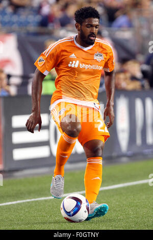 August 15, 2015; Foxborough, MA, USA; Houston Dynamo defender Sheanon Williams (22) in action during the first half - Stock Photo