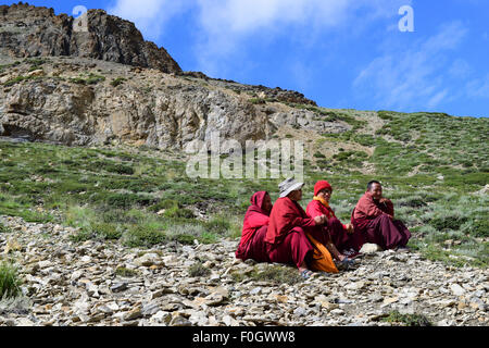 Buddhist monks in Himalayas Mountains at Ladakh India Jammu and Kashmir - Stock Photo
