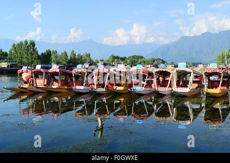 Dal lake and shikara Boats at beautiful Kashmir Landscape in Srinagar Jammu and Kashmir India - Stock Photo
