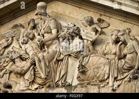 Marble Figures on top of a Grand Building, London, Untied Kingdom - Stock Photo
