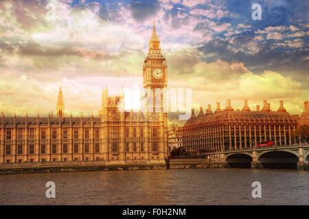 Big Ben in Westminster Palace,London - Stock Photo