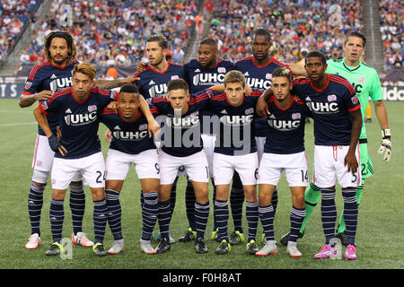 August 15, 2015; Foxborough, MA, USA; New England Revolution players pose for pictures prior to their MLS game against - Stock Photo
