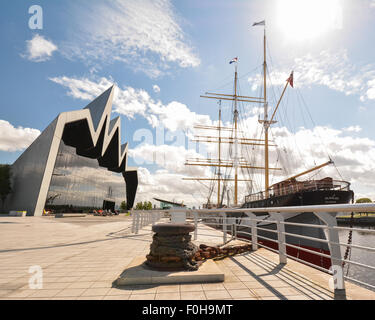 The Tall Ship moored outside the Riverside Museum, Glasgow, Scotland, UK - Stock Photo