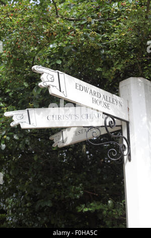 Direction signs for Edward Alleyn House and Christ's Chapel, Dulwich Village, London SE21 - Stock Photo