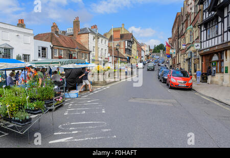 Arundel High Street. Looking up the High Street in the small Medieval town of Arundel in West Sussex, England, UK. - Stock Photo