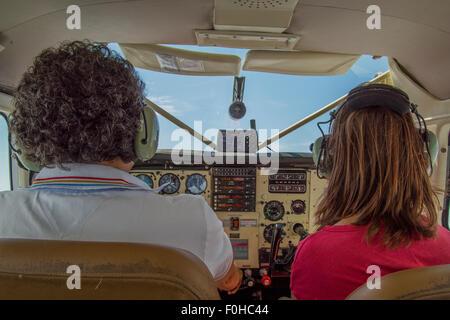 small plane cockpit floatplane - Stock Photo