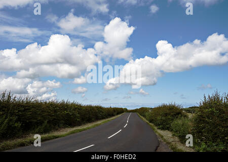 road empty of traffic, close to the Northumberland Coast near Craster - Stock Photo