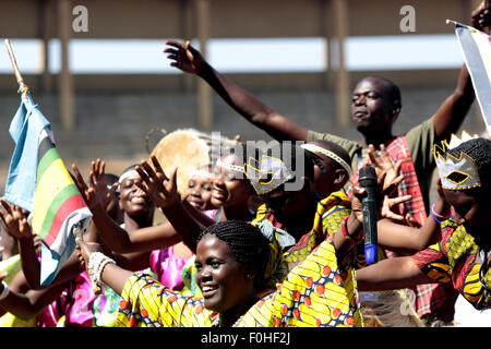 Kampala, Uganda. 16th August, 2015. Traditional dancers perform during the launch of the East Africa Military Games - Stock Photo