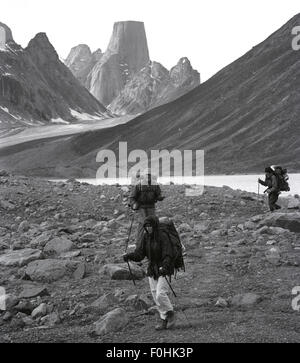 Backpacking past Mt. Asgard on Baffin Island - Stock Photo
