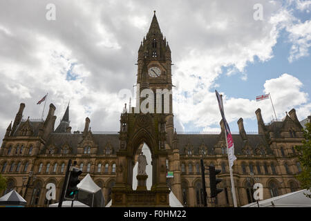 albert square and Manchester town hall England UK - Stock Photo