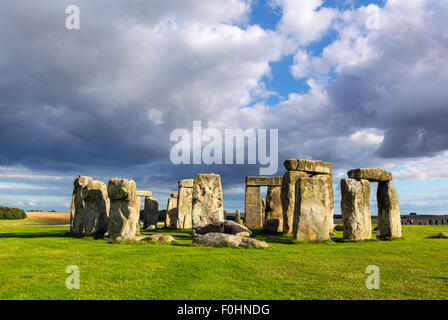 Stonehenge in late afternoon sunshine, near Amesbury, Wiltshire, England, UK - Stock Photo