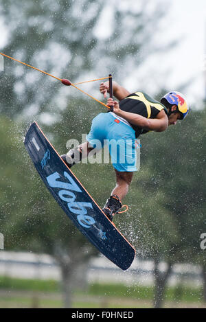 Wakeboarding, Wakeskating National Championship at Miami Watersports Complex, Amelia Earhart Park, Hialeah, Florida. - Stock Photo