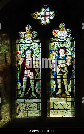 Window in memory of Sir Robert Arbuthnot, 6th Bt. (1919-44), in the Church of St. John the Baptist, Nash, Shropshire, - Stock Photo