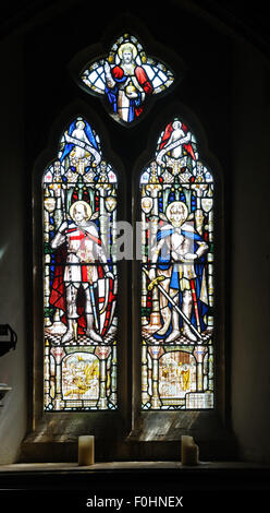 Window featuring St. George and St. Martin of Tours, in the Church of St. Mary Magdalene, Cricket Malherbie, Somerset, - Stock Photo