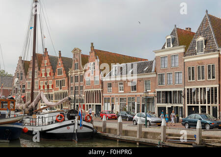 Historic gabled architecture along the IJsselmeer, in the city of Hoorn ( Horn ) Veermanskade, North Holland, The - Stock Photo