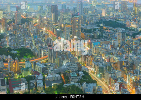 Tokyo, Japan cityscape and highways - Stock Photo