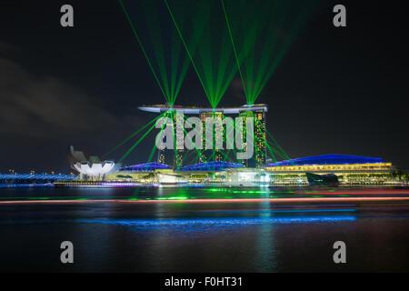 Laser show of Singapore Marina Bay, Singapore - Stock Photo