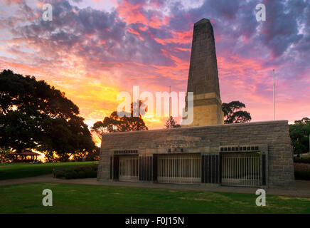 First World War Memorial in Kings Park at sunset, Perth, Western Australia - Stock Photo
