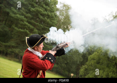 French military soldiers firing a musket during  18th Century Jacobite era re-enactment at Cannock Chase Visitor - Stock Photo