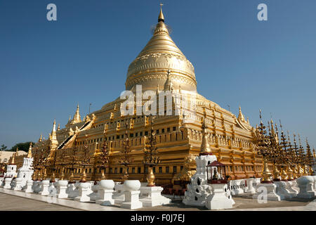 Golden stupa of Shwezigon Pagoda, Mandalay Division, Bagan, Mandalay Division, Myanmar - Stock Photo