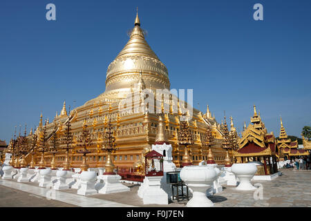 Golden stupa of Shwezigon Pagoda, Mandalay Division, in Bagan, Mandalay Division, Myanmar - Stock Photo