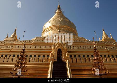 Golden stupa of Shwezigon Pagoda, Mandalay Division, Bagan, Mandalay Division, Myanmar - Stock Photo