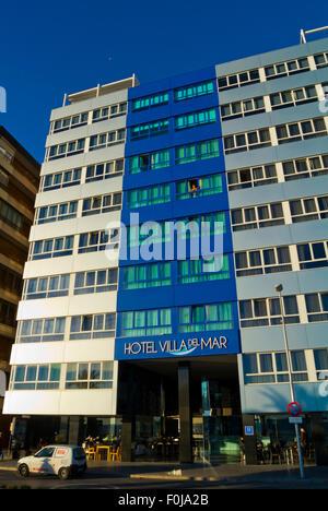 Hotel Villa del Mar, in front of Playa de Poniente beach, Benidorm, Alicante province, Marina Baixa, Costa Blanca, - Stock Photo