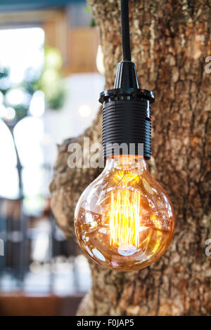 Retro light bulb with bokeh hanging in tree - Stock Photo