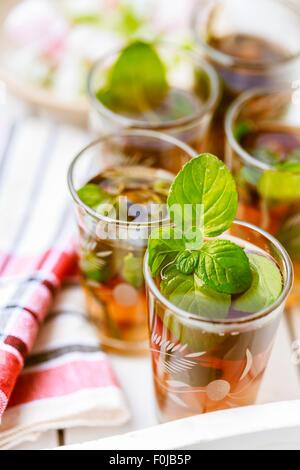 Moroccan mint tea in glasses - Stock Photo