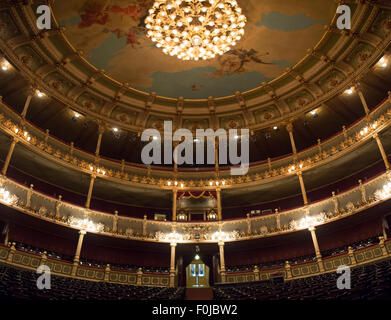 Large empty classical theatre in baroque style old fashioned beautiful theatre in San José, Costa Rica - Stock Photo