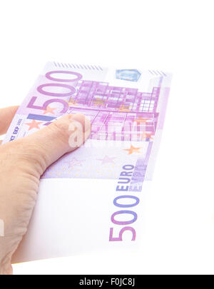 Hand holding 500 euro note - Stock Photo