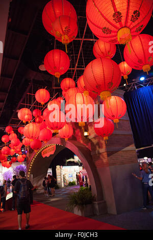 Anaheim, California, USA. 15th Aug, 2015. The Shanghai Disneyland exhibit at the Disney D23 Expo fan event in Anaheim, - Stock Photo