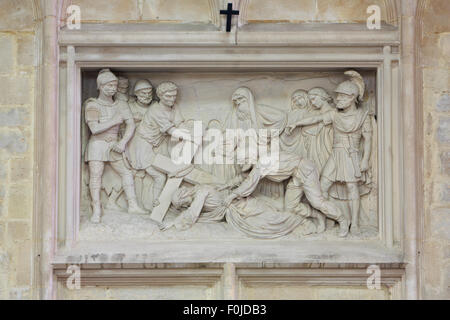 The 9th station of the Way of the Cross inside the Church of Our Lady Across the River Dyle in Mechelen, Belgium - Stock Photo