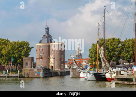 Enkhuizen, North Holland, The Netherlands: View on the harbor tower 'Dromedary'' or in Dutch 'Dromedaris from the - Stock Photo