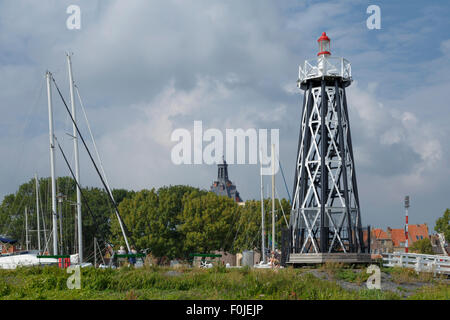 Lighthouse Enkhuizen, North Holland, The Netherlands, viewed from the IJsselmeer. This monumental harbor light dates - Stock Photo