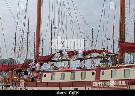 Close Up View Of A Tall Ships Rigging At Charlestown