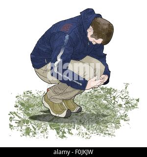 Digital illustration of man crouching on ground looking down and holding knees - Stock Photo