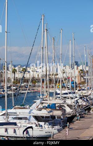 Barcelona, Catalonia, Spain, sailing boats at Port Olimpic marina - Stock Photo