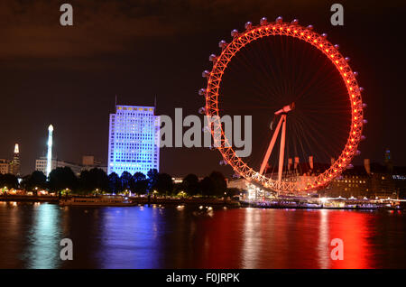 London Eye, United Kingdom, River Thames - Stock Photo