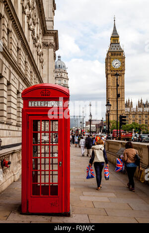 A Traditional Red Telephone Box and Big Ben, London, England - Stock Photo