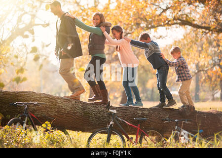 Family walking in a row on fallen log near bicycles - Stock Photo