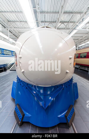 Interior of the Shinkansen Museum at the Railway Park in Nagoya. The nose of the front of a Shinkansen, bullet train, - Stock Photo