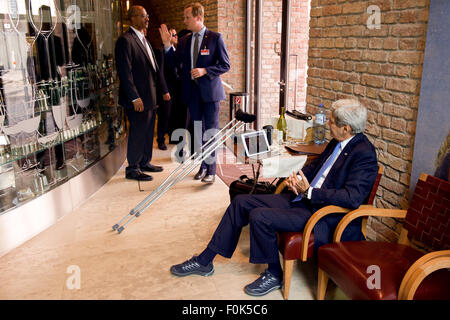 Secretary Kerry Watches President Obama Announce Plans to Re-Open U.S. Embassy in Cuba and Have Him Visit Havana - Stock Photo
